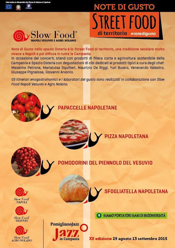 Al Pomigliano Jazz 2015 ritorna Slow Food con Note di Gusto